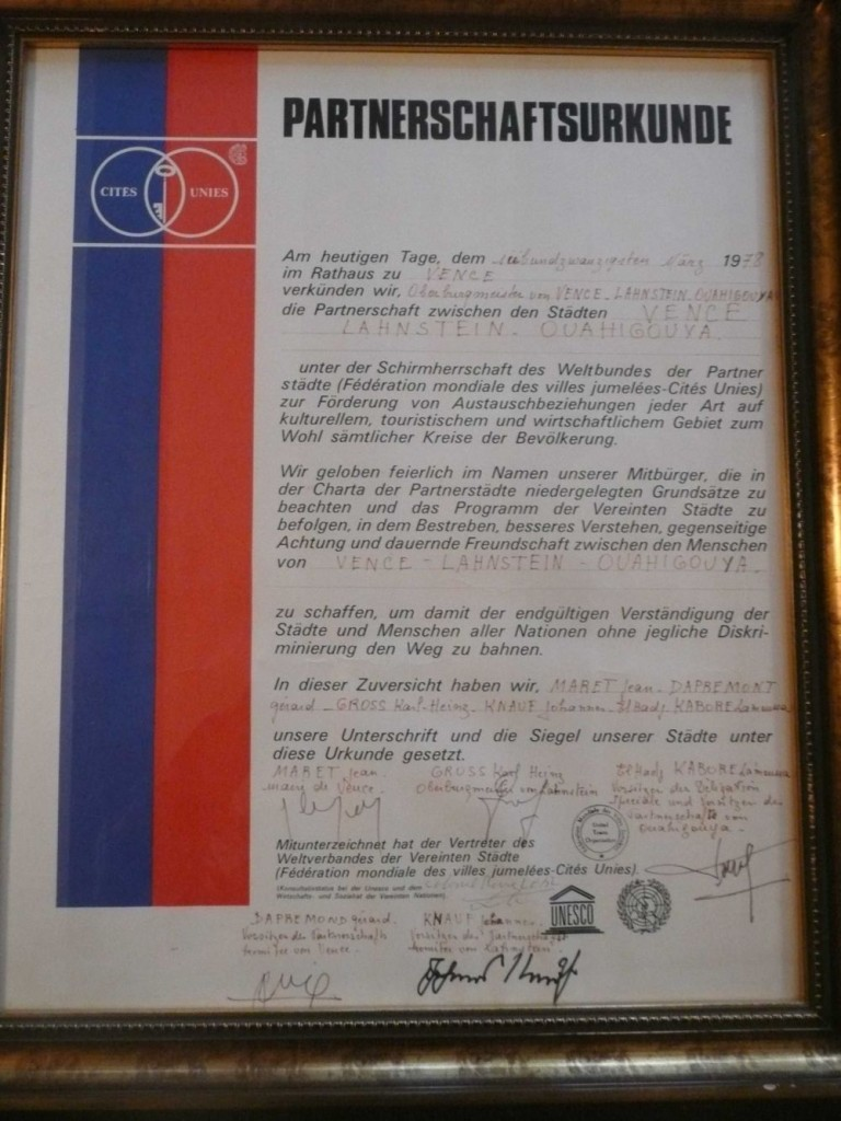 Vence Urkunde Partnerschaft 1978