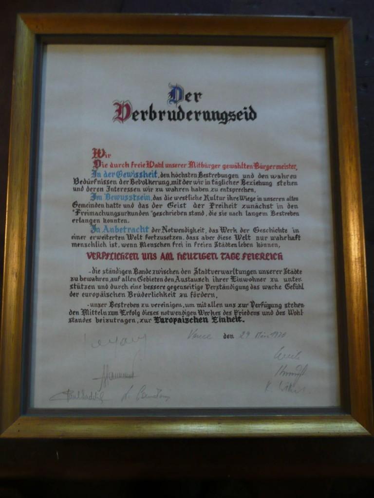 Vence Urkunde Verbrüderungseid 1970